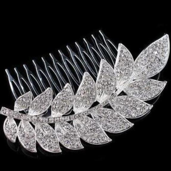 Silver Hair Combs Wheat Hair Comb Wedding Comb Rhinestone Crystal Leaf Hair Combs