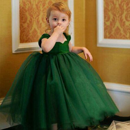 Infant Green Tutu Dress with Bow Faux Diamond Belt Tulle Party Princess Dresses