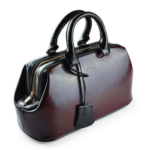 100% Genuine Leather Brown Bag Doctor for Women Leather Handbags Brown Suitcase