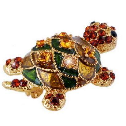 Turtle Brooch 18K Gold Plated Colorful Rhinestone Brooch Vintage Brooch Pins for Women