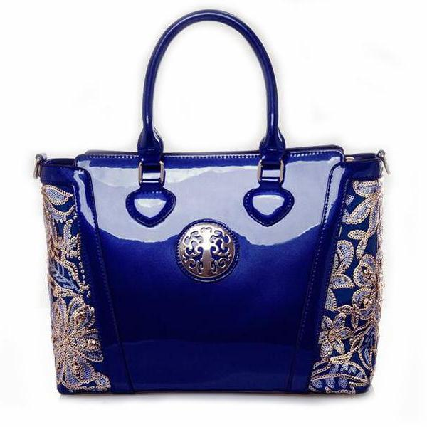 Womens Blue Shoulder Bag Luxury Fashion Tote Patent Blue Leather Handbags