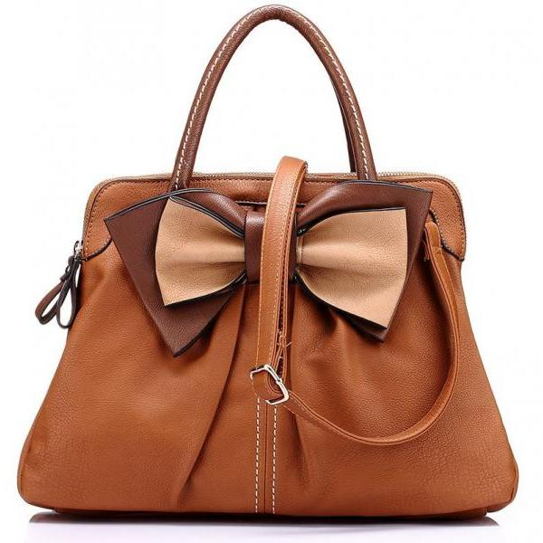 Retro vintage bags leather handbags fashion Leather big bow bag large women tote
