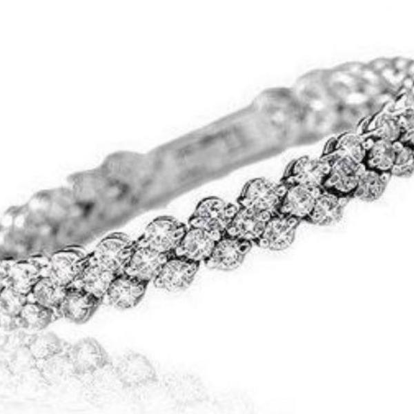 Bridal Full Star Super Shiny Crystal Women Platinum Plated Bracelets Rolo Chain