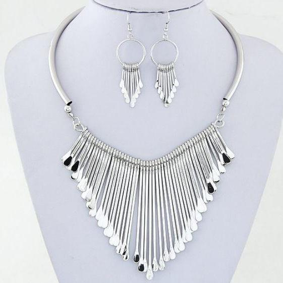 Silver Plated Jewelry Set Bijoux Chunky Spoon Like Fashion Spoon Earrings Silver Necklace