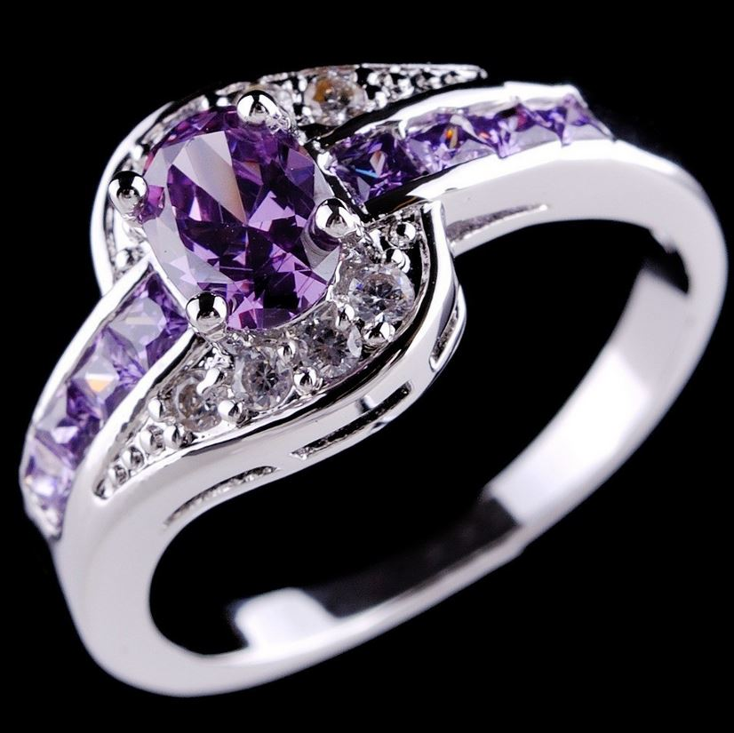 purple rings amethyst 10k white gold filled ring womens With purple wedding rings for women